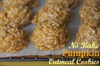 """I just tried these No bake pumpkin cookies tonight and they are delicious!!! If you aren't a pumpkin fan, you would still enjoy them! The only """"pumpkin"""" thing about them is the pumpkin pie spice, but its mainly vanilla puddin'. YUM! #freez..."""
