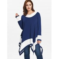 Plus Size Long Sleeve Two Tone Handkerchief T-shirt $31.92