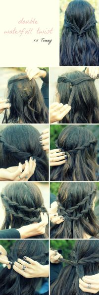 Double Waterfall Twist Tutorial - This looks cool... can I accomplish this? Lol