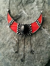 Red Stained Glass Crescent Moon with black cabochon, Viking Lunula, Double Horn Pendant, half Moon, Witchcraft Boho Necklace - Luna $38.00