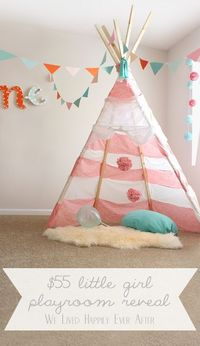 The cutest Little Girl Playroom ever! So many great ideas, and the whole thing cost only $55! www.welivedhappilyeverafter.com