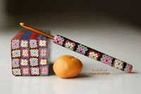 Love this afghan cane and crochet hook made from polymer clay granny squares!