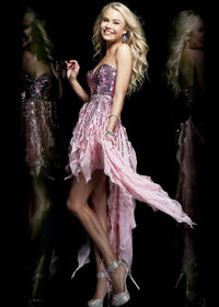 2014 Pink Strapless Party Dress With Hi-lo Sequined Flutters