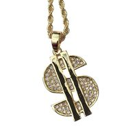 PVD Iced Out Hip Hop Bling Diamond Studded Dollar Sign 3D Mini Pendant Necklace 30 inches Rope Chain included £3.99