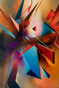 Abstract, geometric statement painting 'Union Pt 1' by Simon Kenny $6495.00