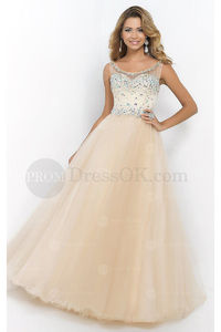 Cheap Ball Gown Tulle Sleeveless Floor-length Prom Dresses