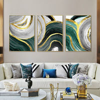 Framed set of three wall Gold Abstract acrylic paintings on canvas original painting set of 3 framed wall art cuadros abstractos $163.53