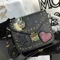 MCM Mini Patricia Embellished Visetos Shoulder Bag In Black
