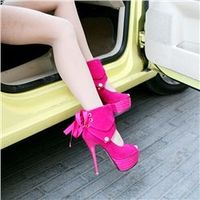 Extreme High Heel Spring Red Open Toe Platform Height Shoes
