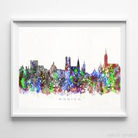 Munich, Germany Skyline Watercolor Print by Inkist Prints - Available at https://www.inkistprints.com