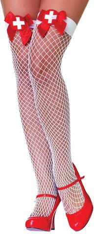 Fishnets Thi Hi Nurse Wt-Rd Bw $7.91 https://costumecauldron.com
