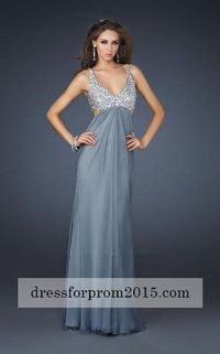 Gray Platinum Full Length Sequin Ball Prom Gown Wholesale