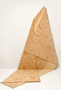 """Artist: Harry Roseman Title: Folded Plywood 15 Materials: AC 1/4"""" plywood (constructed from a single piece of plywood) Dimensions: 61.5""""x39""""x42"""" Year created: 2012"""