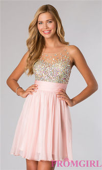 2014 Short Beaded Sheer High Neck Homecoming Dress