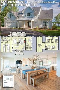 Architectural Designs Modern Farmhouse Plan 970048VC gives you 3 beds plus an upstairs loft and bonus room and a total of 1,930 square feet of heated living space. Ready when you are. Where do YOU want to build? #970048VC #adhouseplans #architecturaldesig...