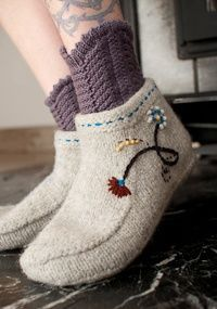 These felted booties would certainly keep the feet warm...it's not too early to be thinking of Christmas knitting!