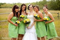 #Yellow and #green #wedding with mini callas and gerbera daisies by
