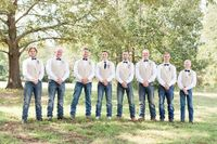 Groomsmen in jeans and vests | Rustic Southern charm wedding | Windy Hill Wedding & Event Barn | Photography & Design by Jenny