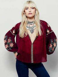 2018 heavy embroidery women chic shirts loose casual boho hippie style blouses hot sale fashion fall clothing floral top shirt $55.00