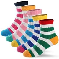 Girls Ankle Socks Toddlers Kids Cotton Colorful Stripes Fashion Crew Socks 5 Pairs Pack (3-5 years (Shoe size 8-11)) $10.99