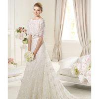 Exquisite A-line Bateau Short Sleeve Beading Lace Sweep/Brush Train Tulle Wedding Dresses - Dressesular.com