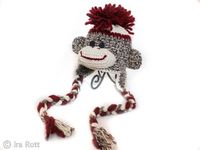 Handmade Crocheted Sock Monkey Hat