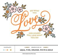 Curated Color 001: Aqua, Pink, Orange, White & Gold Palette