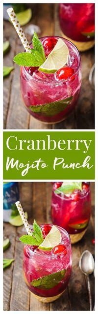 This Cranberry Mojito Punch is so refreshing and flavorful! It's a festive sparkling cocktail that's sure to have everyone dancing the night away at your holiday party! The red and green make it the perfect Christmas cocktail recipe! #ad #Sparklin...