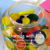 Lids are a wonderful resource to invite all kinds of early learning and development. We spent the day learning with LOTS of lids in our preschool classroom!