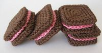 square sandwich cookies to crochet, by Cake Sachets by Norma Lynn Hood