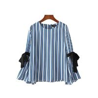 Women striped shirt long sleeve Oneck blouse Casual Tops $25.61