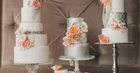 Trio of peach pink wedding cakes with silver   Cake by: Lori Hutchison, The Caketress