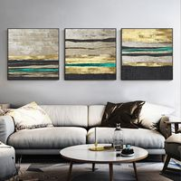 Set of 3 wall art Gold leaf paintings on canvas 3 pieces Framed Wall Art black art Ymipainting Original art wall Pictures $163.53