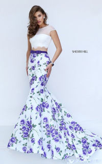 Sherri Hill 50421 Ivory/Purple Colorful Floral Print Prom Dress
