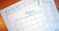 Free printables - calendar, weekly chart, to-do lists, and grocery lists each month!