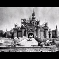 SleepingBeauty castle at Disneyland in 1954 being built
