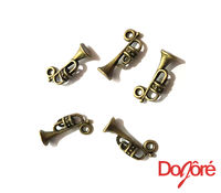 Pack of 20 Bronze Music Trumpet Charms. Musical Instrument Horn Unique Pendants. 18mm x 8mm. £7.19