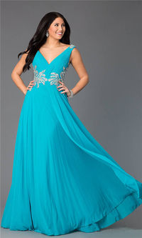Jovani 99401 V Neck Long Prom Gowns In Teal