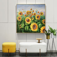 Abstract floral painting Sunflower Oil Painting on Canvas art Wall Pictures abstract flower Original art heavy texture cuadros abstractos $148.75