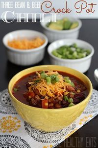 Three Bean & Beef Crock Pot Chili Recipe - loads of veggies, easy to make, HEALTHY, and full of flavor #crockpot #chilirecipe #chili | by