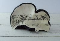 Vintage Folk art depicting a Moose in nature painted on dried tree fungus $55.00