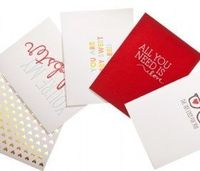 beautiful letter-pressed valentine's cards by sugar paper & refinery29, $25 for the set of 5