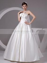V SHAPE STRAPPED A LINE SATIN WEDDING GOWN WITH BOW