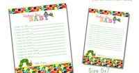 """The Very Hungry Caterpillar Themed """"Wishes for Baby"""" Cards-Printable File INSTANT Download"""