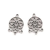 Pack of 50 Round Silver Colour Dreamcatcher Connector Charms. Dream Catcher Pendants. 18mm x 12mm. £7.99