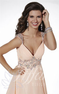 Sparkly Straps Chiffon Sweetheart Long Peach Prom Dresses