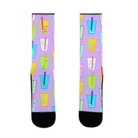 Boba Bubble Tea Pattern US Size 7-13 Socks by LookHUMAN $15.99