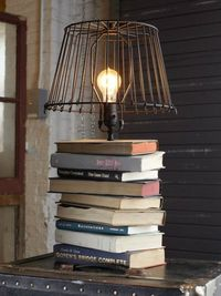 This would be a perfect bedside table lamp. There's always about 18 books there anyway, so it wouldn't be a mess anymore, it would be decor!