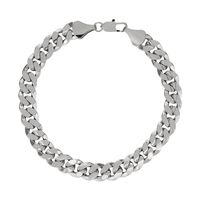 """Men's Luxury Silver Plated 10mm 8"""" Solid Curb Link Bracelet £2.99"""