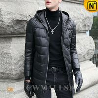 CWMALLS® Hooded Leather Down Filled Coat CW807202